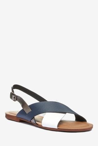 Navy/White Regular/Wide Fit Forever Comfort™ Cross Front Slingbacks