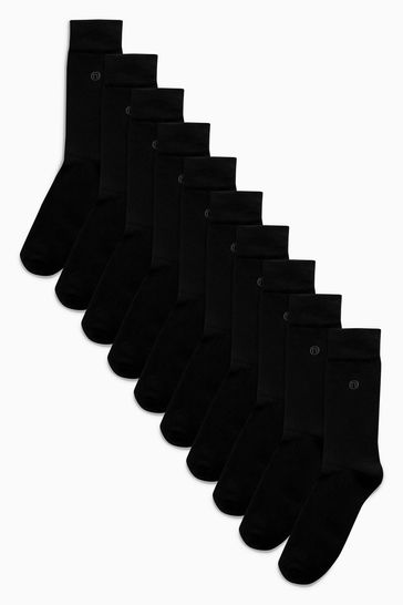 Black 10 Pack Cushioned Sole Socks