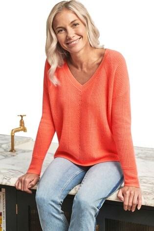 Pure Collection Orange Gassato Cashmere Textured V-Neck Sweater