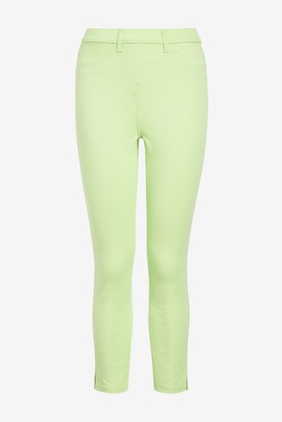 Lime Jersey Cropped Leggings