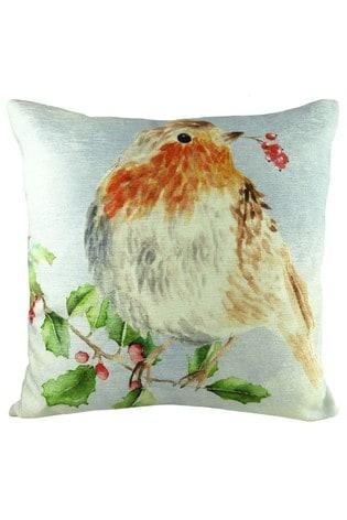 Evans Lichfield White Christmas Robins Cushion