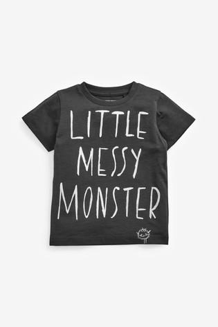 Charcoal Little Messy Monster T-Shirt (3mths-7yrs)