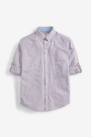 Light Grey Puppytooth Regular Fit Linen Blend Roll Sleeve Shirt