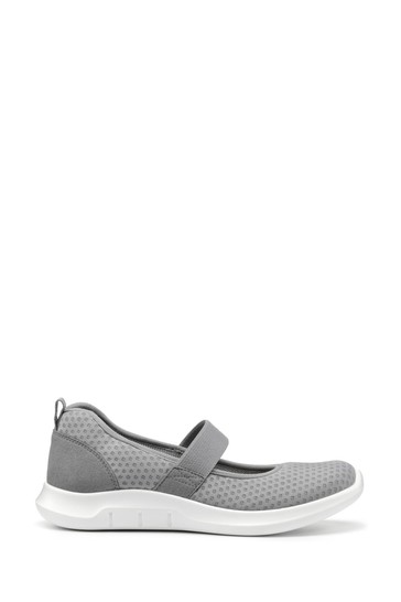 Hotter Grey Flow Wide Fit Slip-On Mary Jane Shoes