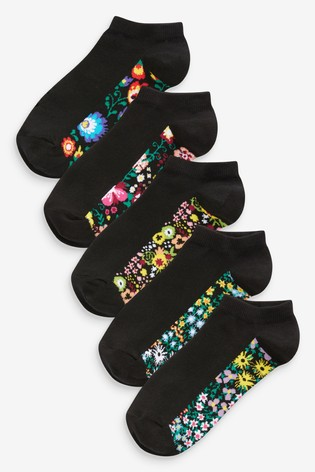 Floral Footbed Trainer Socks Five Pack