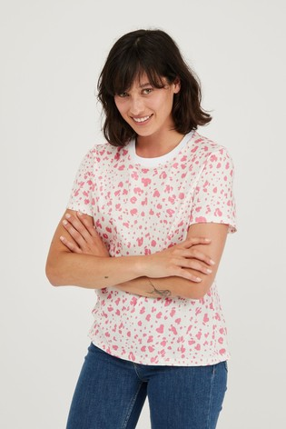 Oliver Bonas Pink Animal Print Cotton T-Shirt