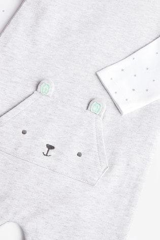 Grey Organic Cotton Dungarees/Bodysuit Set (0-12mths)