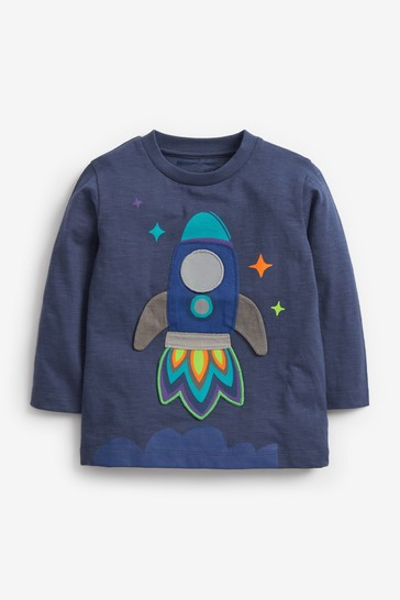 Blue Rocket Long Sleeve Appliqué T-Shirt (3mths-10yrs)
