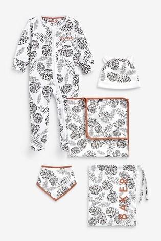 Baker by Ted Baker Leaf Print Sleepsuit, Hat, Bib And Blanket Set