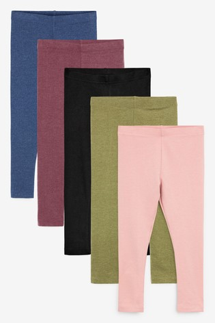 Mixed Colour 5 Pack Leggings (3-16yrs)