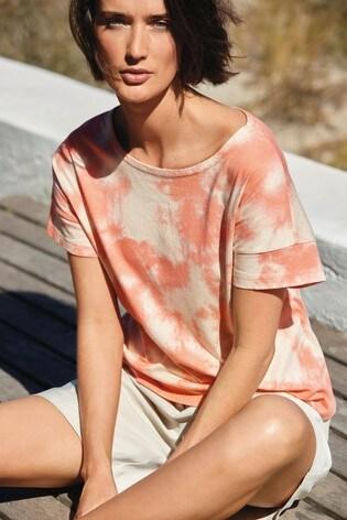Coral Tie Dye Grown On Sleeve Top