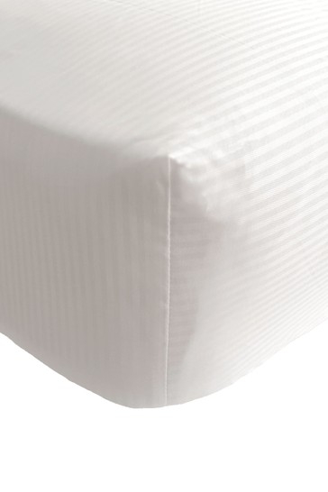 Catherine Lansfield White Satin Stripe Fitted Sheet
