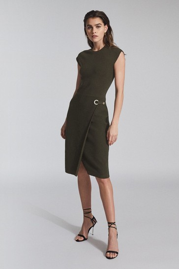 Reiss Green Thea Knitted Bodycon Dress