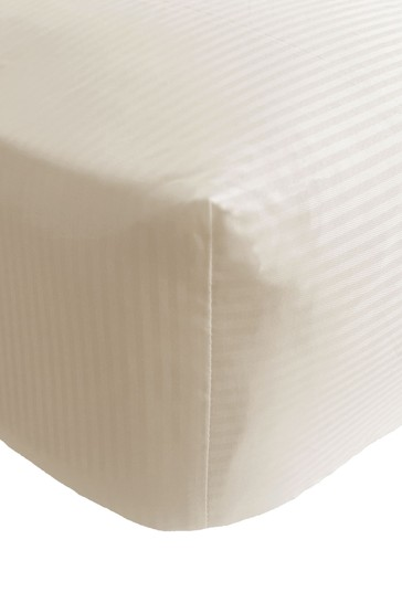 Catherine Lansfield Cream Satin Stripe Fitted Sheet