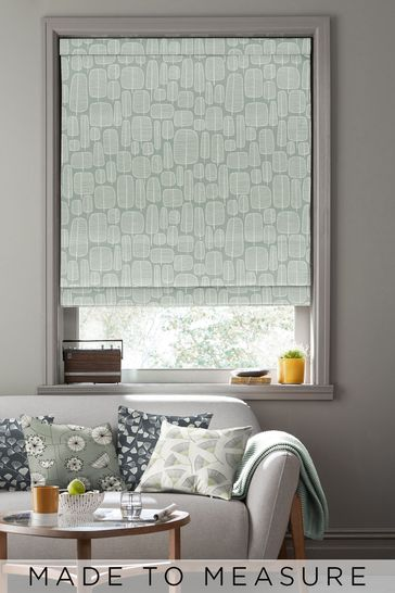 Little Trees English Grey Green Made To Measure Roman Blind by MissPrint