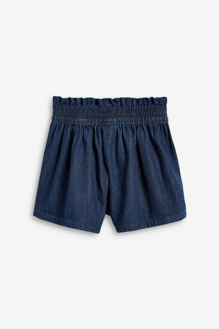 Dark Navy Paperbag Waist Shorts (3-16yrs)