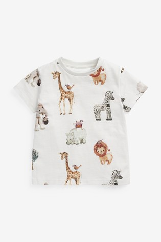 White Animal All Over Printed T-Shirt (3mths-7yrs)