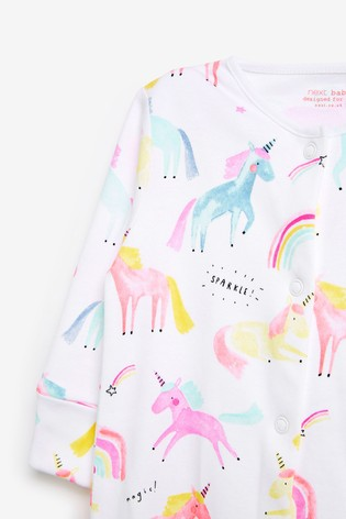 Pastel Unicorn 4 Pack Sleepsuit (0-2yrs)