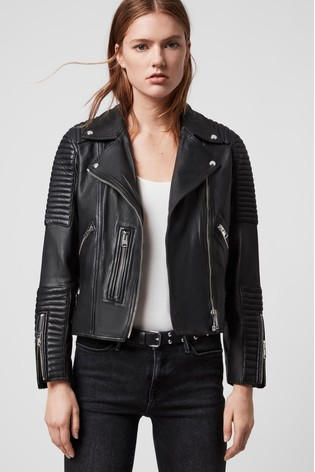 AllSaints Black Estella Leather Biker Jacket