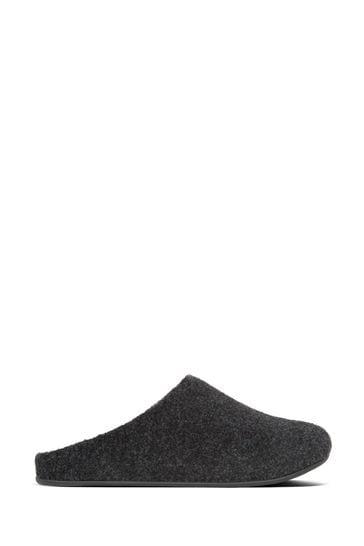 FitFlop™ Black Shove Felt Slippers