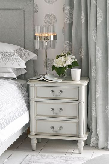 Clifton Dove Grey 3 Drawer Bedside Chest by Laura Ashley