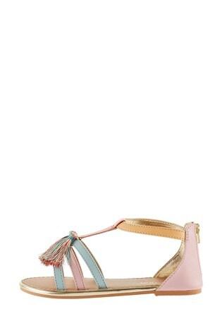 Monsoon Blue Rainbow Tassel Sandals