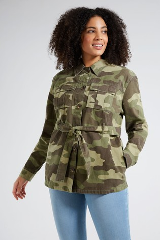F&F Multi Green Camo Belted Shacket