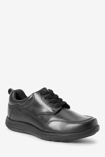 Black Extra wide (H) Leather Lace-Up Shoes
