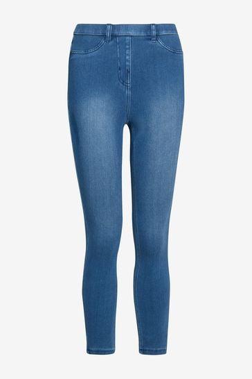 Dark Blue Jersey Cropped Leggings