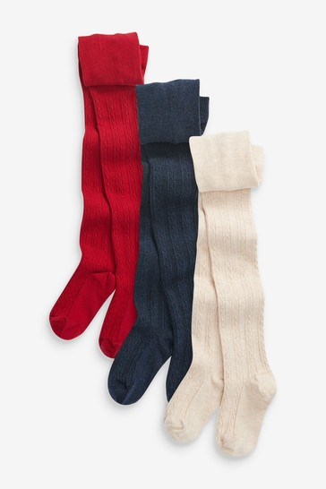 Oatmeal/Red/Navy 3 Pack Cable Tights
