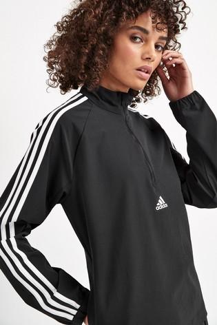 adidas Black 3 Stripe Woven 1/4 Zip Top