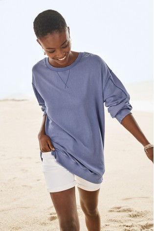Blue Washed Longline Sweatshirt