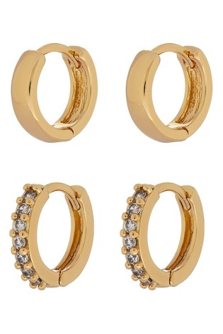 Accessorize Gold Sparkle And Plain Hoop Earrings Set