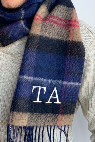 Personalised Lambswool Tartan Scarf by Solesmith