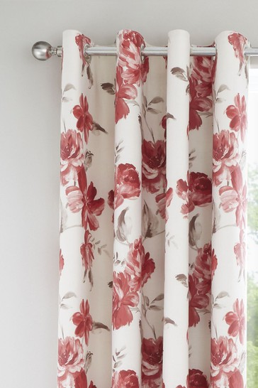 Painted Floral Eyelet Curtains by Catherine Lansfield
