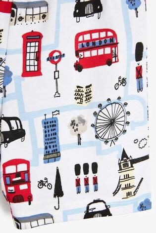 White/Blue London Bus 3 Pack Short Pyjamas (9mths-10yrs)