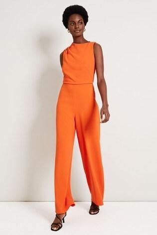 Damsel In A Dress Orange Jovie Wide Leg Jumpsuit
