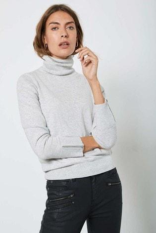 Mint Velvet Grey Fitted Polo Neck Jumper