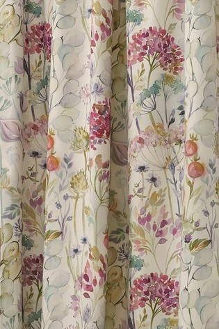 Voyage Country Hedge Floral Lined Pencil Pleat Curtains