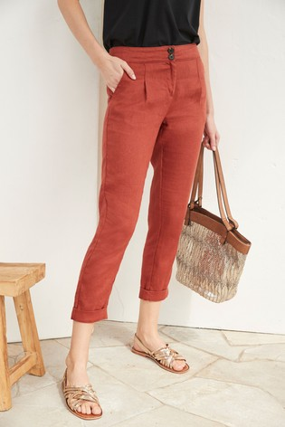 Rust 100% Linen Taper Trousers