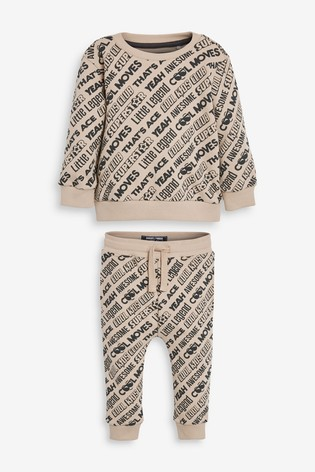 Cement All Over Print Slogan Jersey Crew And Joggers Set (3mths-7yrs)