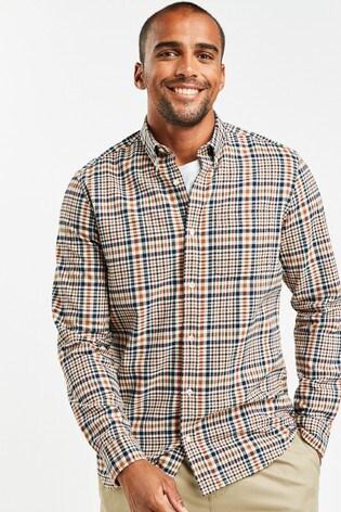 Tan/Navy Slim Fit Check Brushed Long Sleeve Shirt