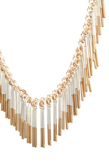 Silver Tone/Gold Tone Dipped Fringe Collar Necklace