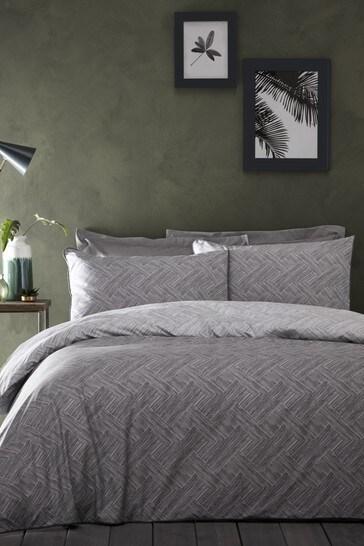 Appletree Denton Chevron Piped Cotton Duvet Cover and Pillowcase Set