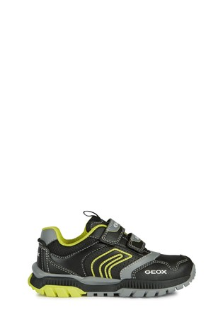 Geox Junior Unisex Tuono Black/Lime Velcro Sneakers