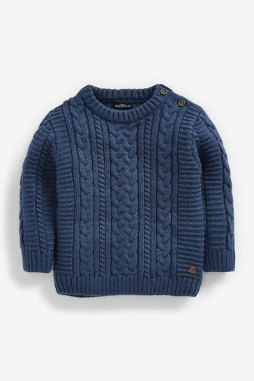 Teal Blue Cable Crew Jumper (3mths-7yrs)