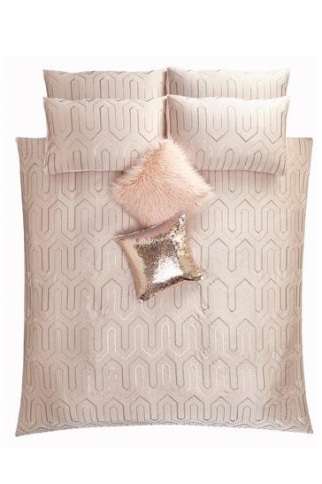 Tess Daly Blush Phoebe Art Deco Sequin Duvet Cover and Pillowcase Set