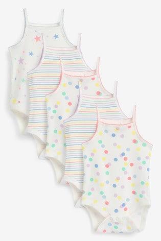 Multi 5 Pack Spot Stripe Vest Bodysuits (0mths-3yrs)