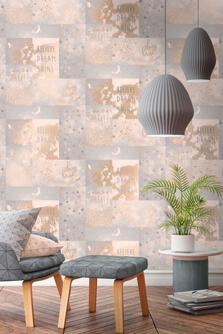"""""""Love To Shine"""" Patchwork Wallpaper by Crown"""