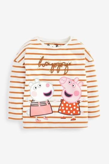 Ecru Stripe Peppa Pig & Suzy Sheep T-Shirt (3mths-7yrs)